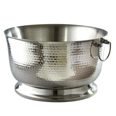 5.75 Gal. Hammered Stainless Steel Party Tub with Double Wall Insulation and Carrying Handles