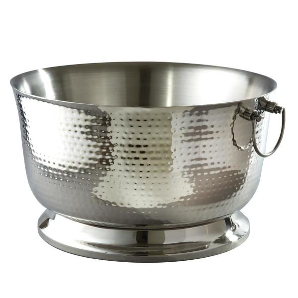 Elegance 5.75 Gal. Hammered Stainless Steel Party Tub with Double Wall