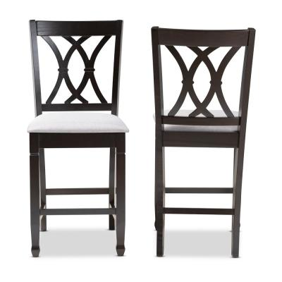 Reneau 43 in. Gray and Espresso Bar Stool (Set of 2)
