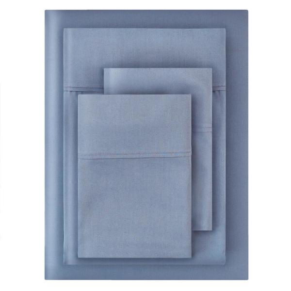 300 Thread Count Wrinkle Resistant American Cotton Sateen 4-Piece Queen Sheet Set in Washed Denim