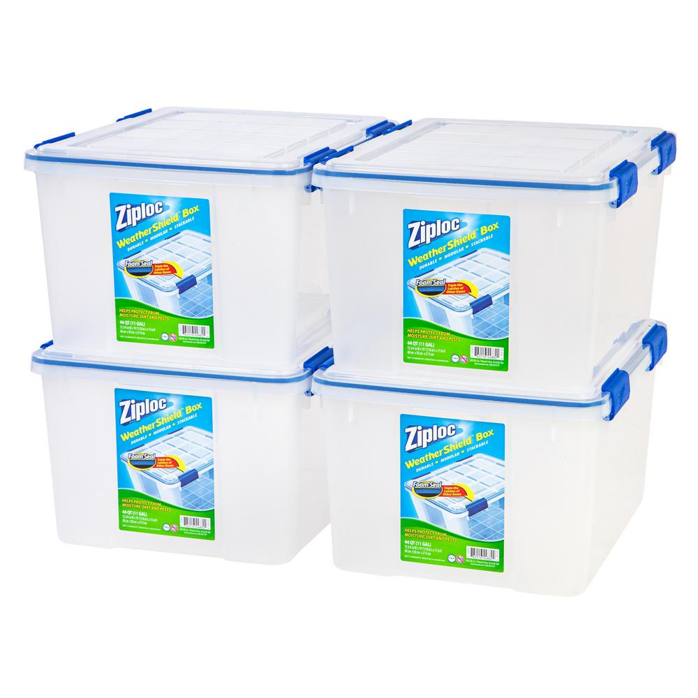 44 Qt. Ziploc Weather Shield Storage Box in Clear (Pack of