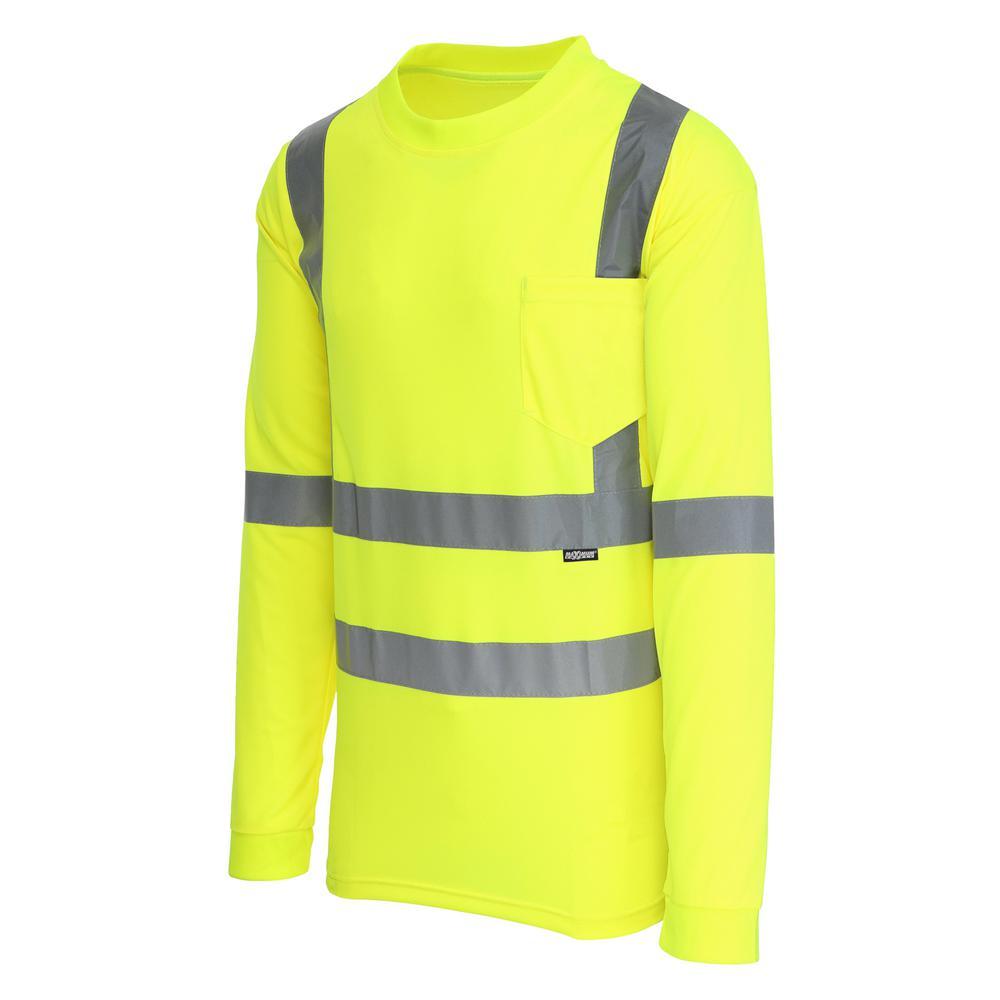 Unisex Large Hi-Visibility Yellow ANSI Class 3 Long Sleeve Shirt
