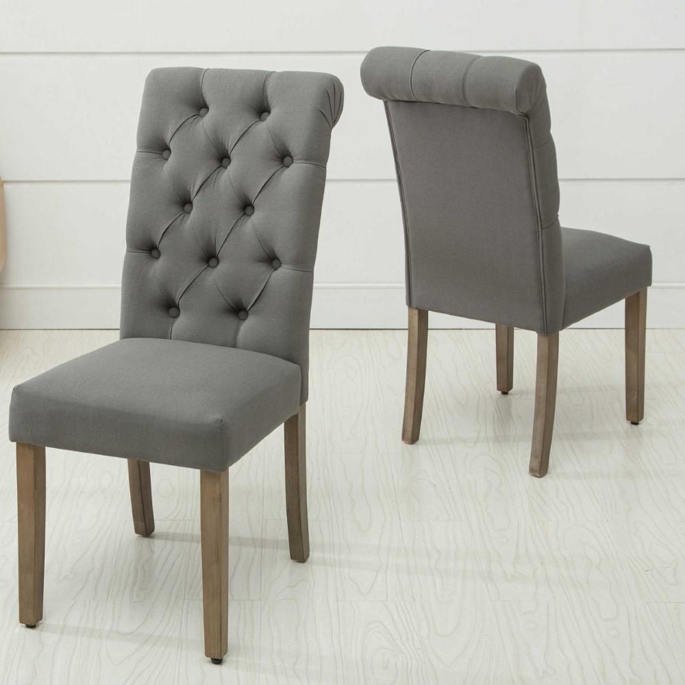 HomeRoots Caroline Gray Wood Side Chair (Set of 2) 266003