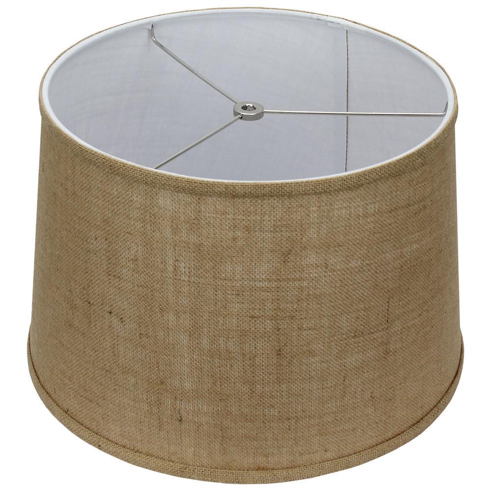 Fenchel Shades 13 in. Top Diameter x 15 in. Bottom Diameter x 10 in. Slant,  Empire Lamp Shade - Burlap Natural