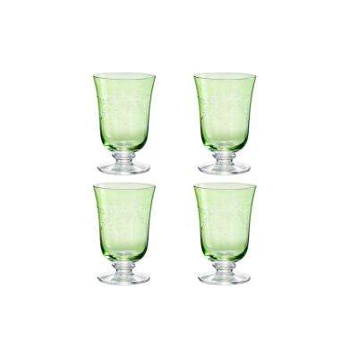 Arcadia 12 oz. Green Etched Water Glass (Set of 4)