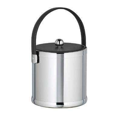 Americano 3 Qt. Polished Chrome Ice Bucket with Black Leatherette Lid and Handle