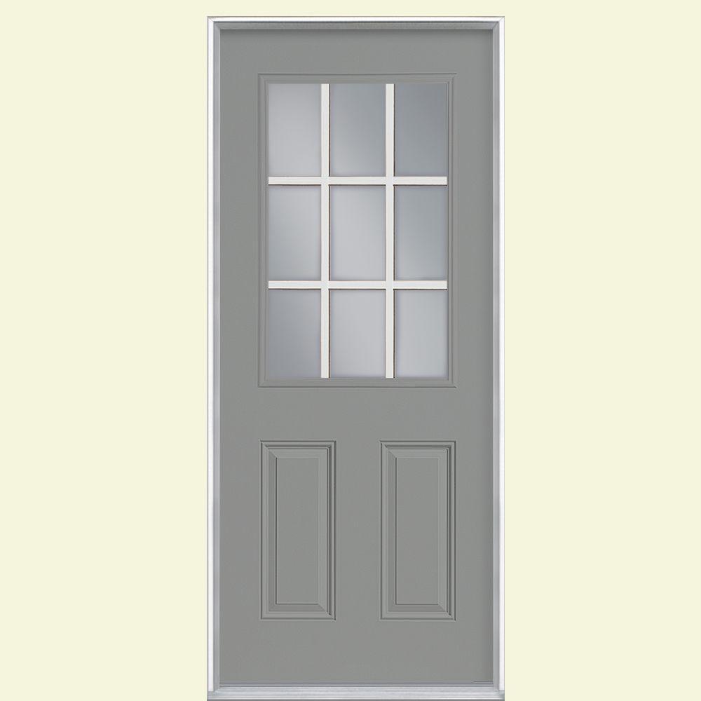 32 in. x 80 in. 9 Lite Silver Cloud Left Hand Inswing Painted Smooth Fiberglass Prehung Front Door, Vinyl Frame