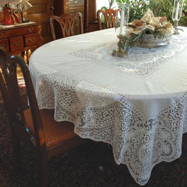 Heritage Lace Canterbury Classic Rectangle White Cotton Tablecloth  CC 70126RW   The Home Depot