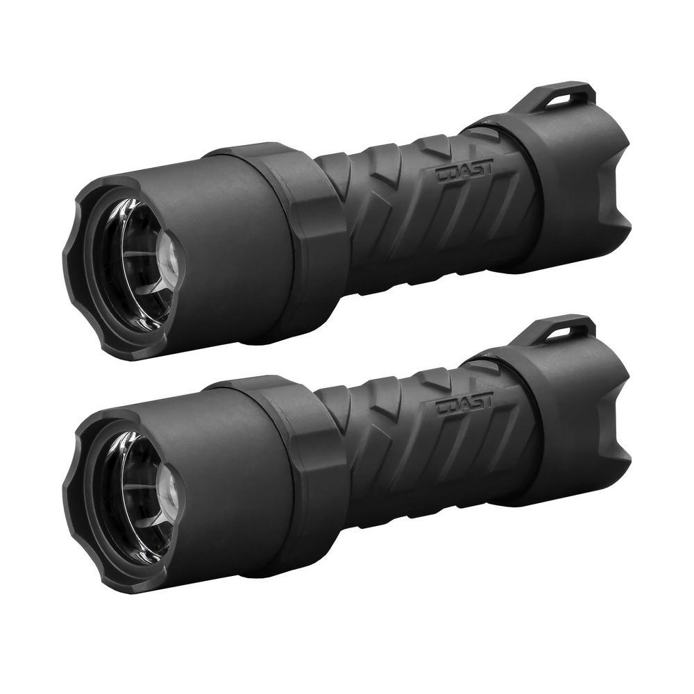 Polysteel 400 Heavy Duty 440 Lumens Waterproof LED Flashlight, 2-Pack