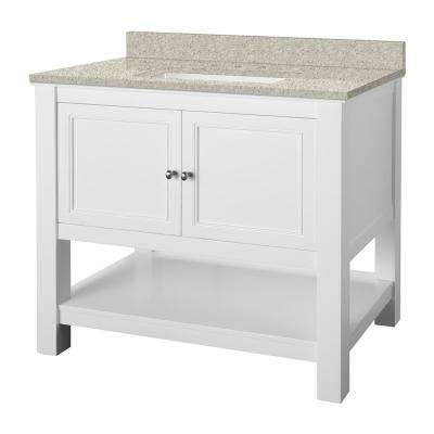 Gazette 37 in. W x 22 in. D Vanity in White with Engineered Marble Vanity Top in Sedona with White Sink