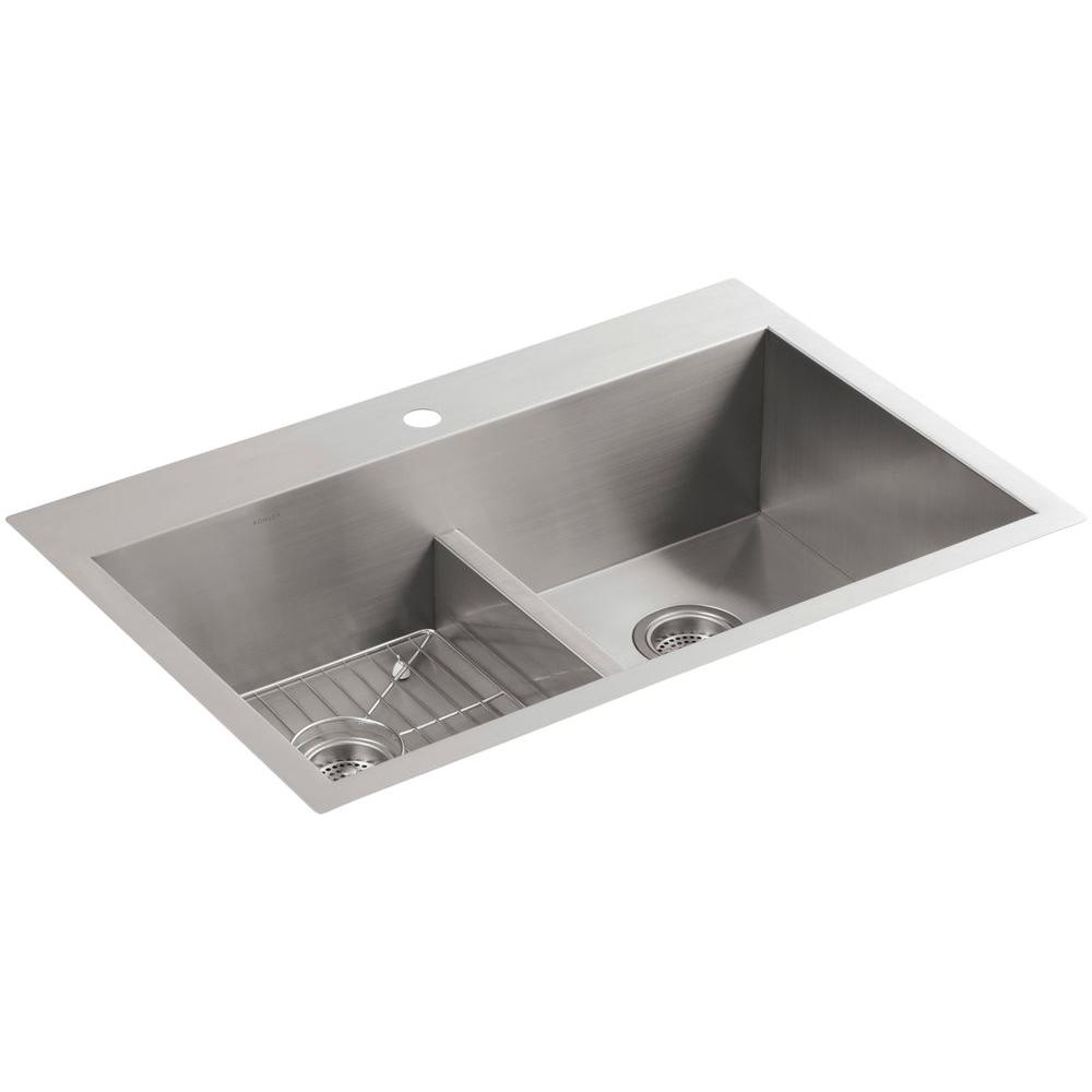 Vault Drop-In/Undermount Stainless Steel 33 in. 1-Hole Double Basin Kitchen Sink