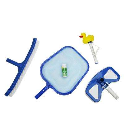 Deluxe Swimming Pool Kit - Vacuum Leaf Skimmer Brush Duck Thermometer and Test Strips (5-Piece)