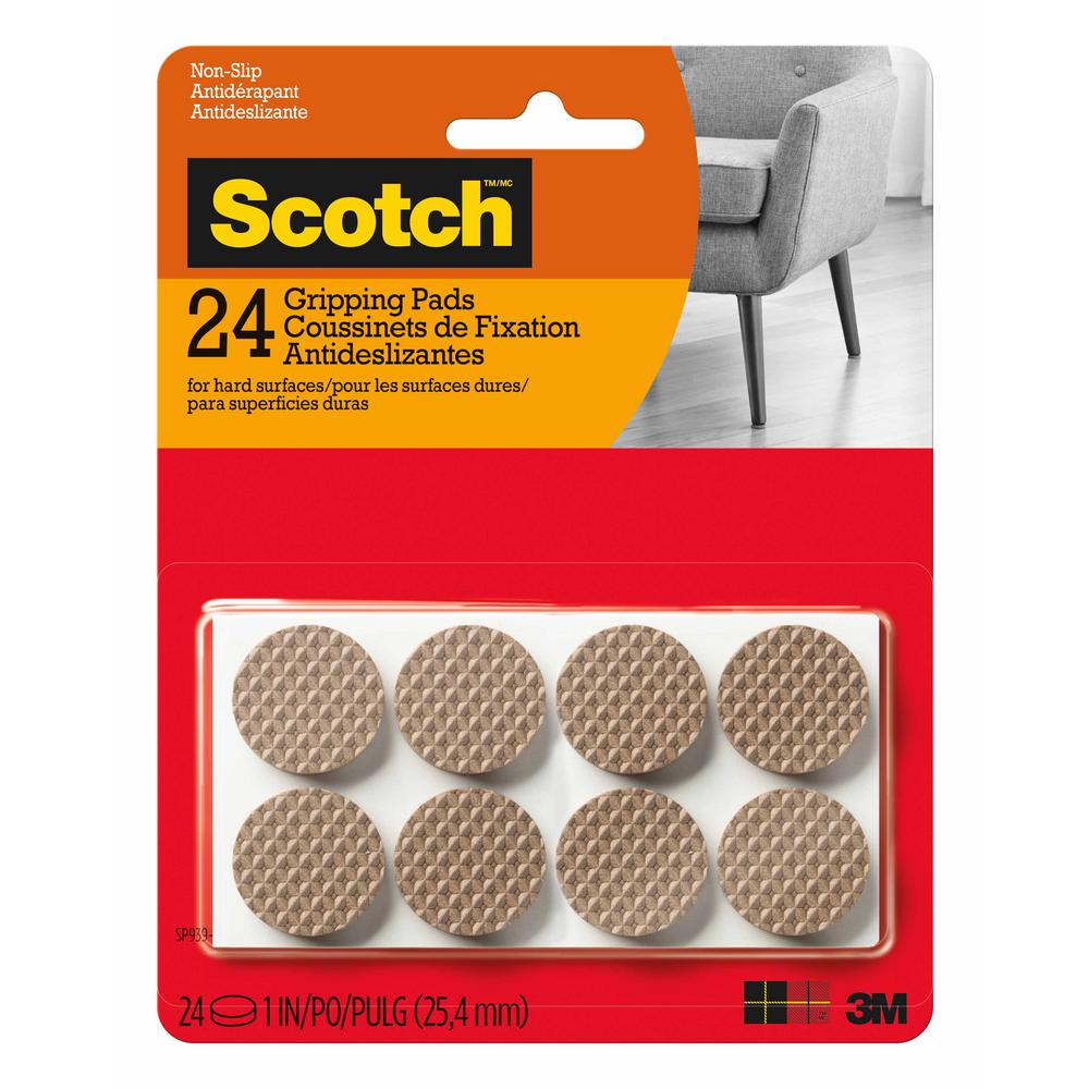 Scotch 1 in. Brown Round Hard Surface Gripping Pads (24-Pack)