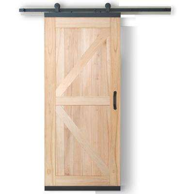 36 in. x 80 in. DesignGlide Farmhouse Unfinished Wood 1-Panel Sliding Barn Door w/ Black Hardware Kit