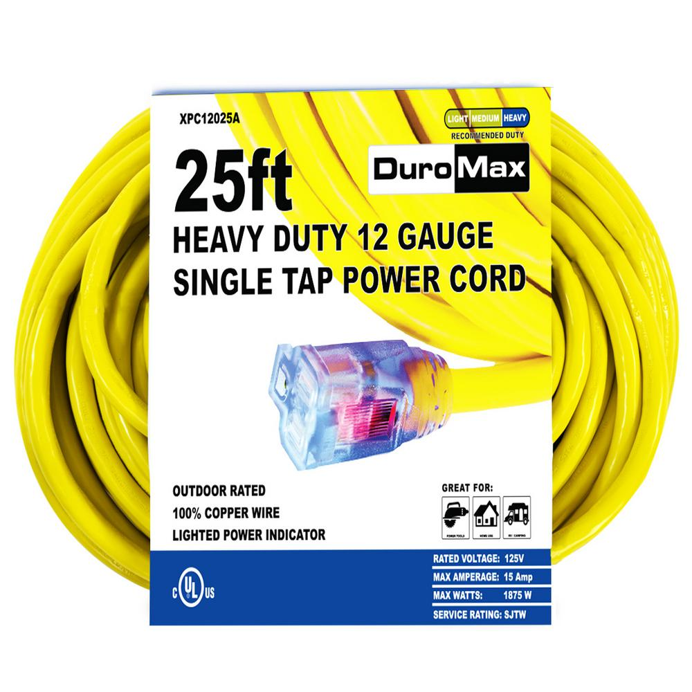 XPC12025A 25 ft. 12/3 Gauge Single Tap Extension Power Cord