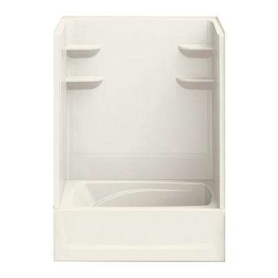 37 in. x 60 in. x 83 in. Bath and Shower Kit Right-Hand Drain in Biscuit