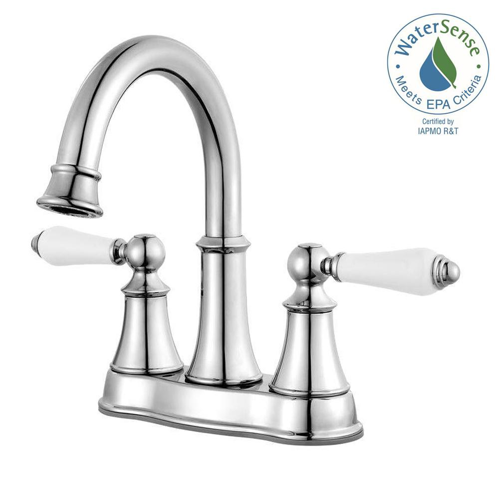Charmant Pfister Courant 4 In. Centerset 2 Handle Bathroom Faucet In Polished Chrome  With White