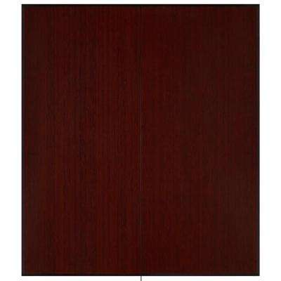 Dark Cherry 42 in. x 48 in. Bamboo Tri-Fold Plush Chair Mat with No Lip
