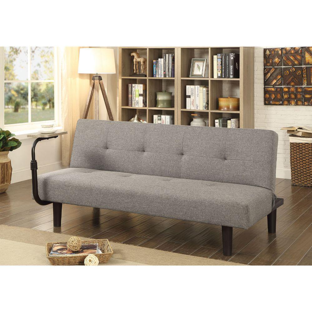 Benjara Light Gray Fabric Upholstered