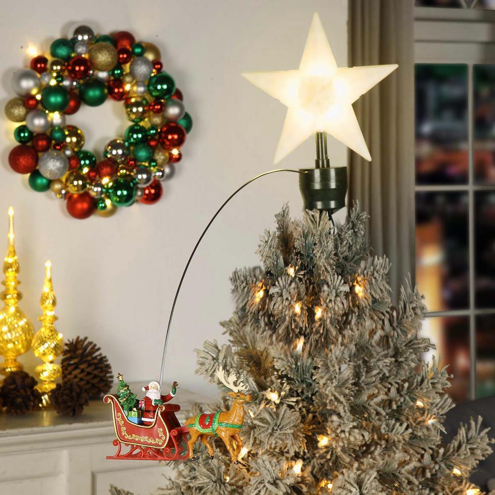 20 In. Tree Topper Santa Sleigh Christmas Tree Animation