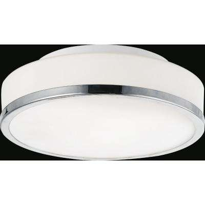 Frosted 2-Light Satin Nickel Flushmount