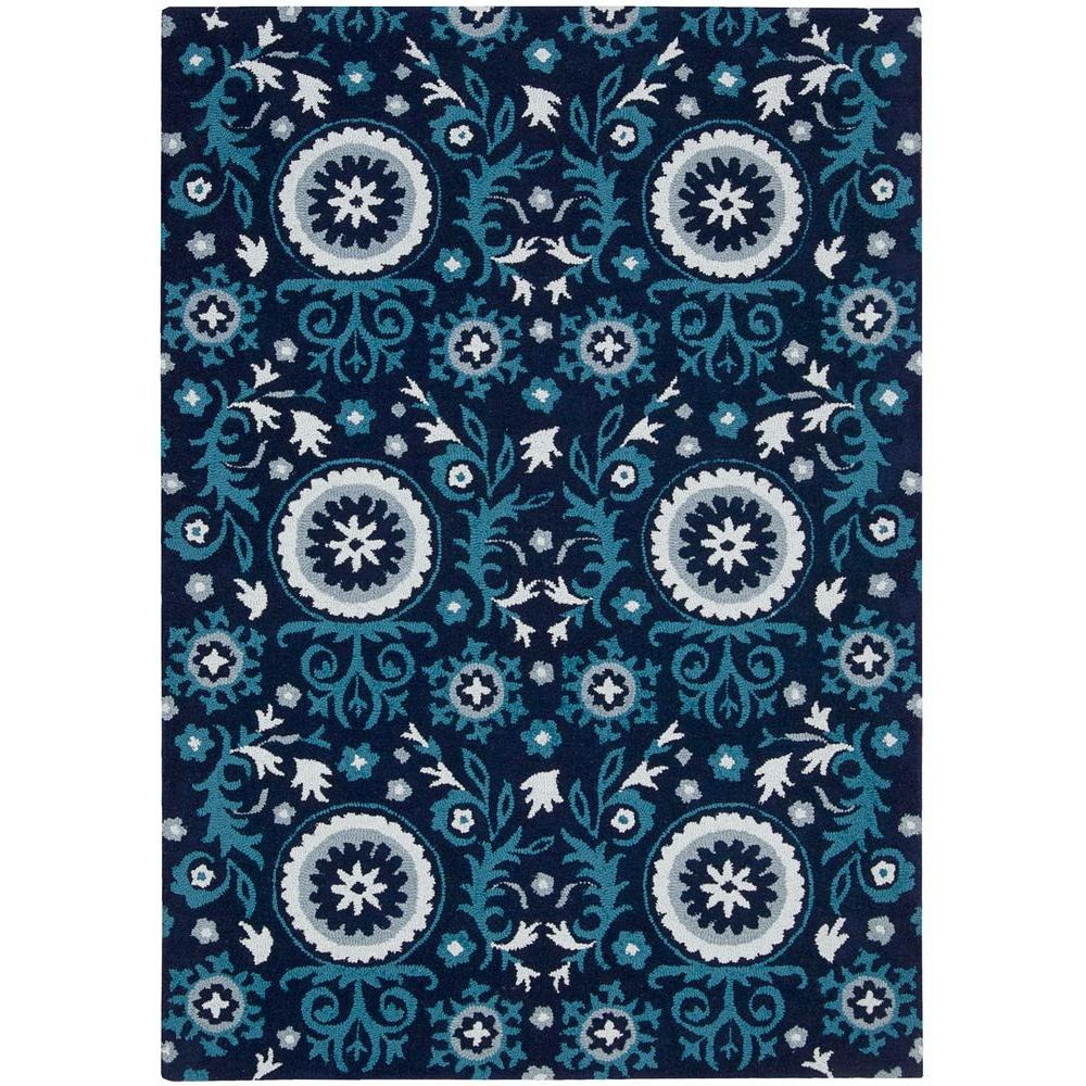 Nourison Overstock Suzani Navy 5 Ft 3 In X 7