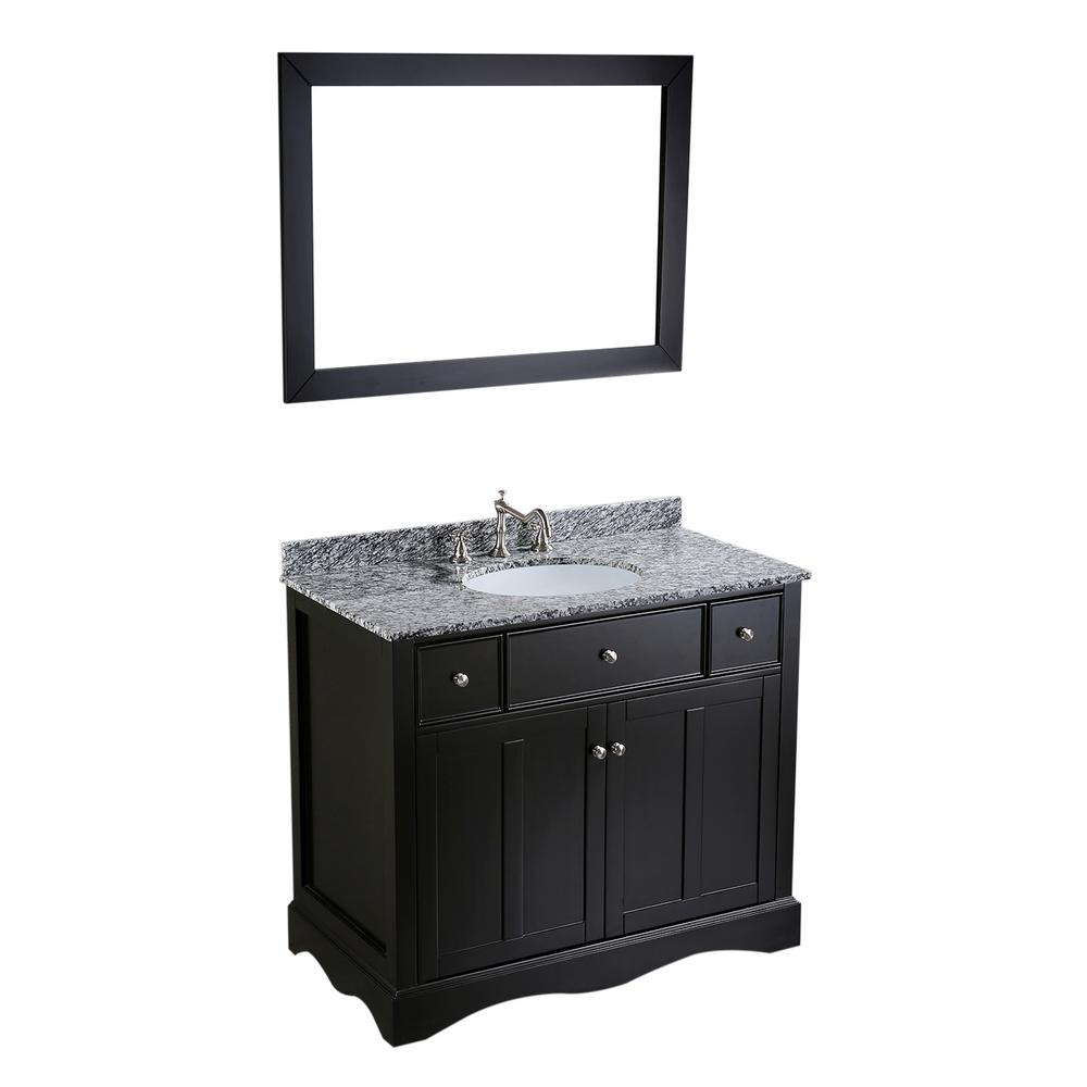 Bosconi Bosconi 39 in. W Single Bath Vanity in Black with Waves of Carrara Marble Vanity Top in Gray with White Basin and Mirror
