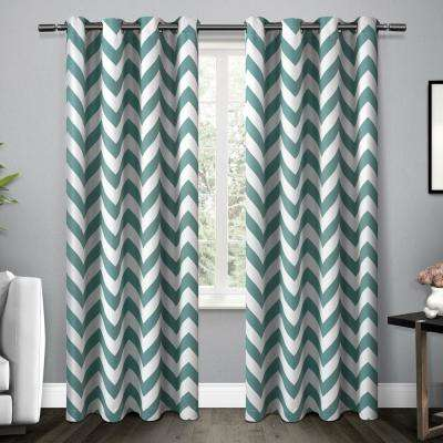 Mars Teal Woven Blackout Thermal Grommet Top Window Curtain