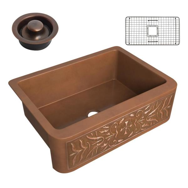 Florina Copper 30 in. Single Bowl Farmhouse Kitchen Sink with Flower Design Panel in Polished Antique Copper