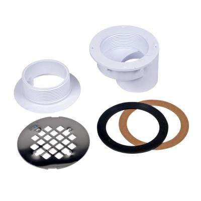 Oatey PVC Offset Shower Drain with Round 4-1/4 in. Stainless Steel Strainer