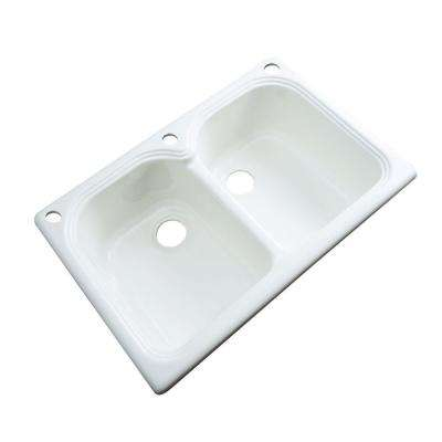 Hartford Drop-In Acrylic 33 in. 3-Hole Double Bowl Kitchen Sink in White