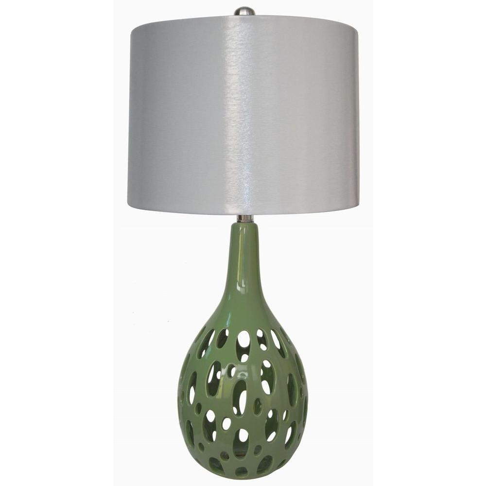 Fangio Lighting 28 in. Ceramic Table Lamp, Apple Green-DISCONTINUED
