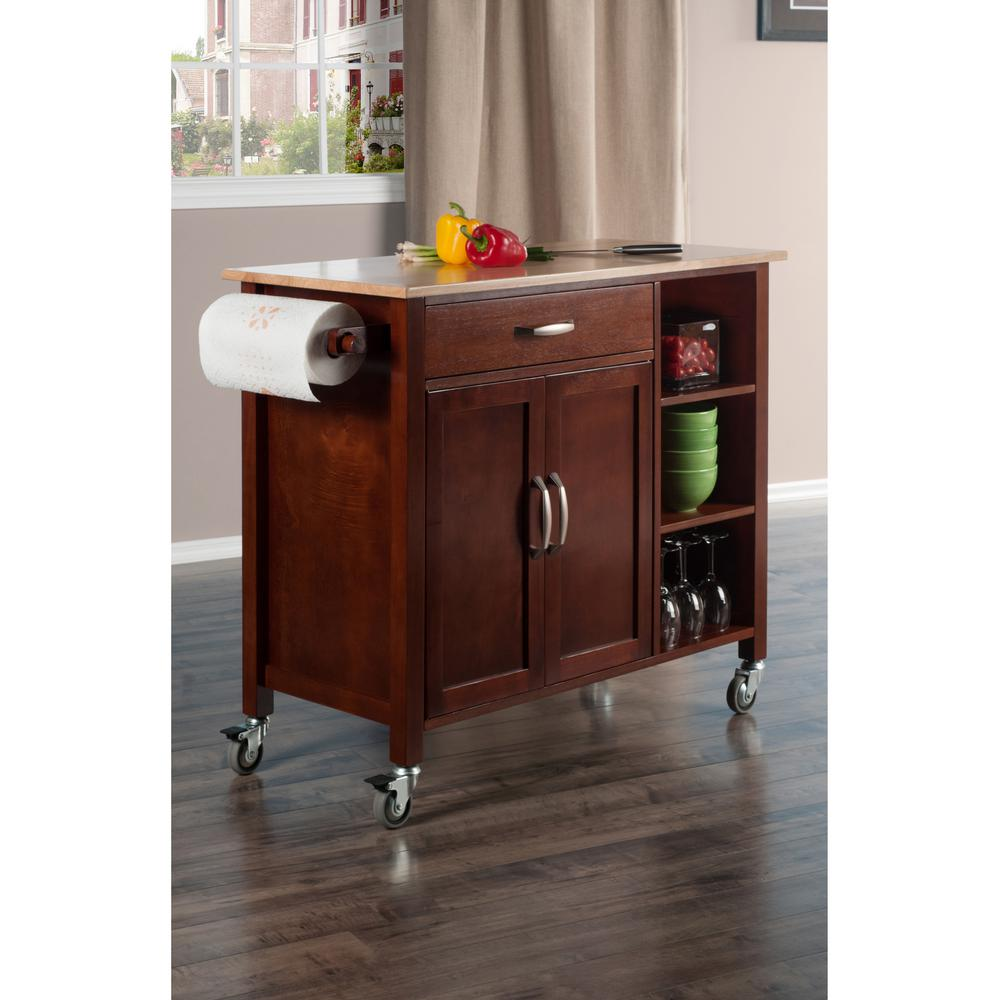 kitchen islands carts winsome wood mabel walnut kitchen cart 94843 the home depot 13587