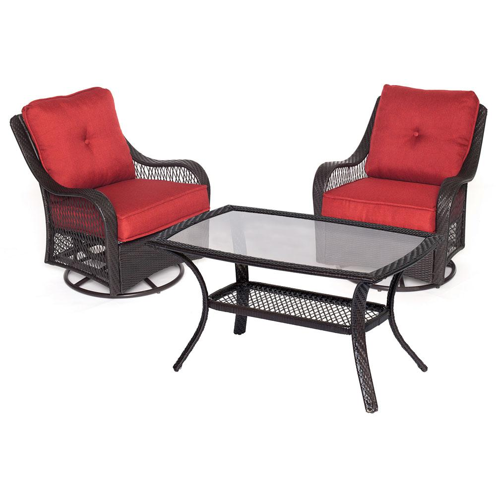 Orleans 3-Piece Wicker Patio Conversation Set with Autumn Berry Cushions