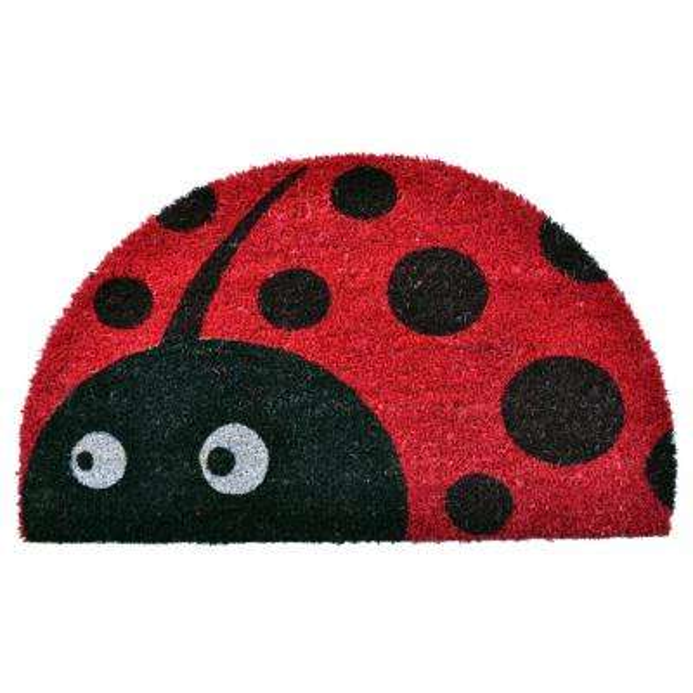 PVC Backed Coir Mat, Half Round Ladybug, 30 in. x 18 in. Coconut Husk Doormat