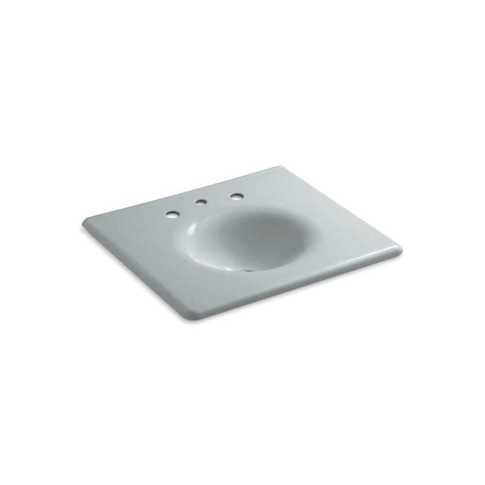 22.25 in. Iron/Impressions Vanity Top Bathroom Sink in Ice Grey