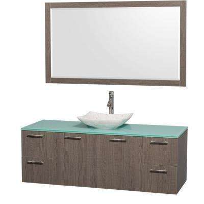 Amare 60 in. Vanity in Gray Oak with Glass Vanity Top in Green, Marble Sink and 58 in. Mirror