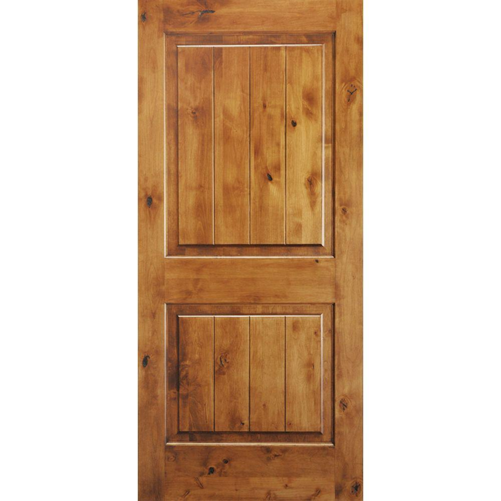 Krosswood Doors 36 in. x 80 in. Knotty Alder 2 Panel Square Top V-Groove Solid Wood Right-Hand Single Prehung Interior Door