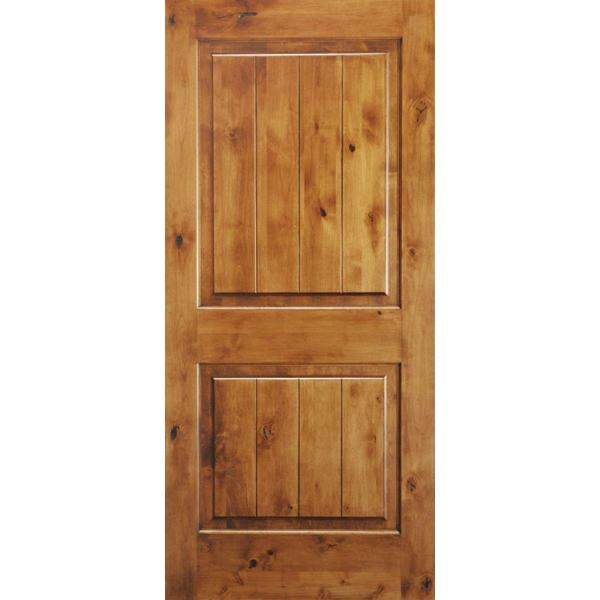 36 in. x 80 in. Knotty Alder 2 Panel Square Top with V-Groove Solid Wood Core Interior Door Slab