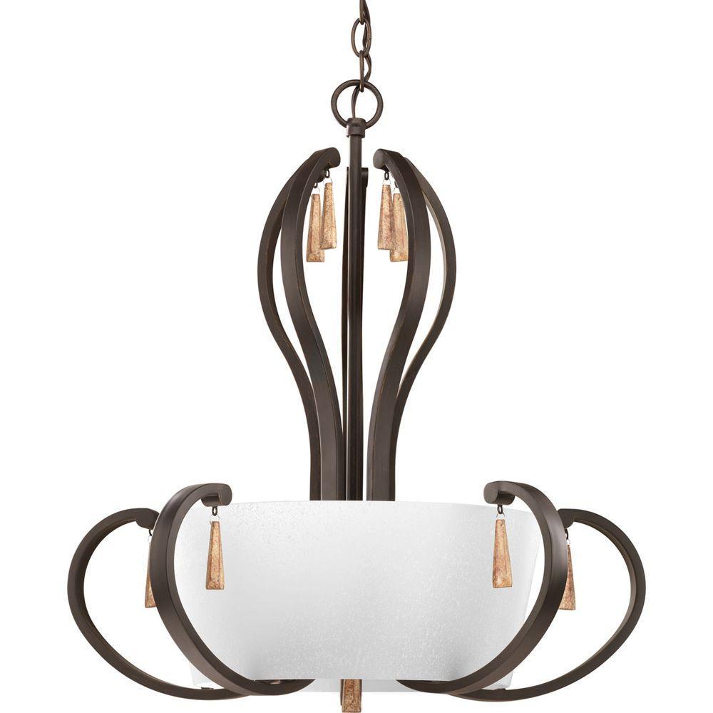 Vintage Foyer Light Fixtures: Progress Lighting Club Collection 5-Light Antique Bronze
