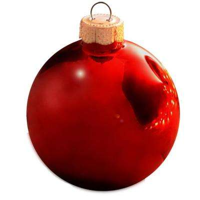 2 in red shiny glass christmas ornaments
