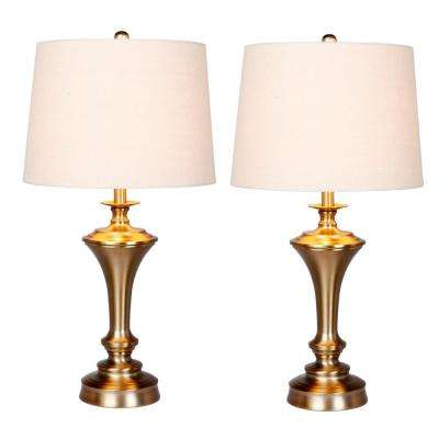 30 in. Plated Antique Gold Urn with Pedestal Base Metal Table Lamp (2-Pack)