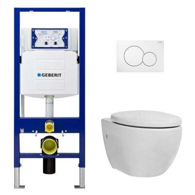 1.28 GPF Dual Flush 2-Piece Elongated Icera Toilet w/ Concealed Tank for 2x6 Construction and Dual-Flush Plate in White