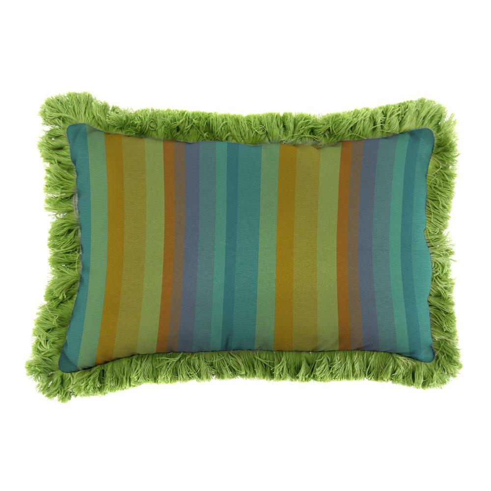 Sunbrella 9 in. x 22 in. Astoria Lagoon Lumbar Outdoor Pillow