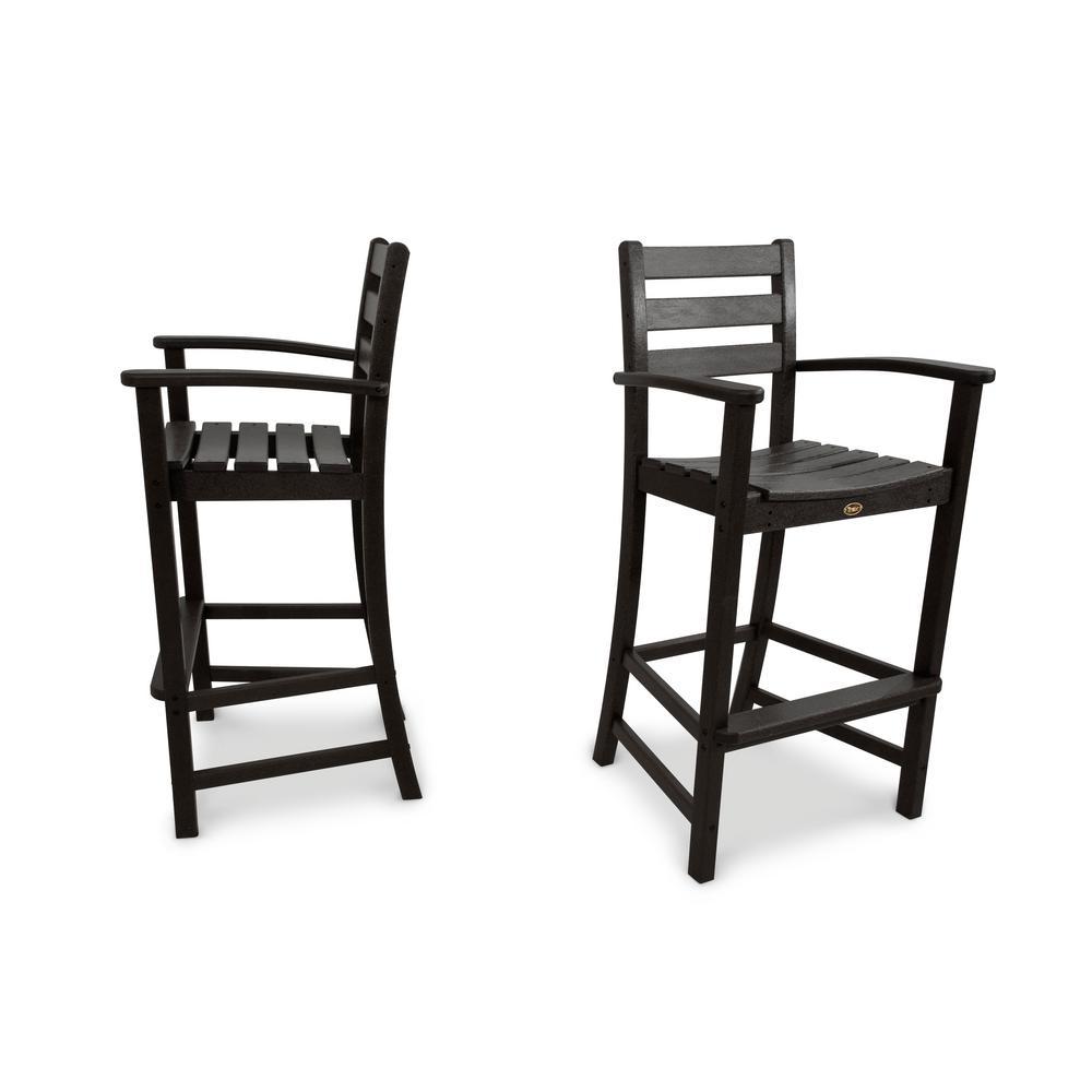 Monterey Bay Charcoal Black 2-Piece Patio Bar Chair Set