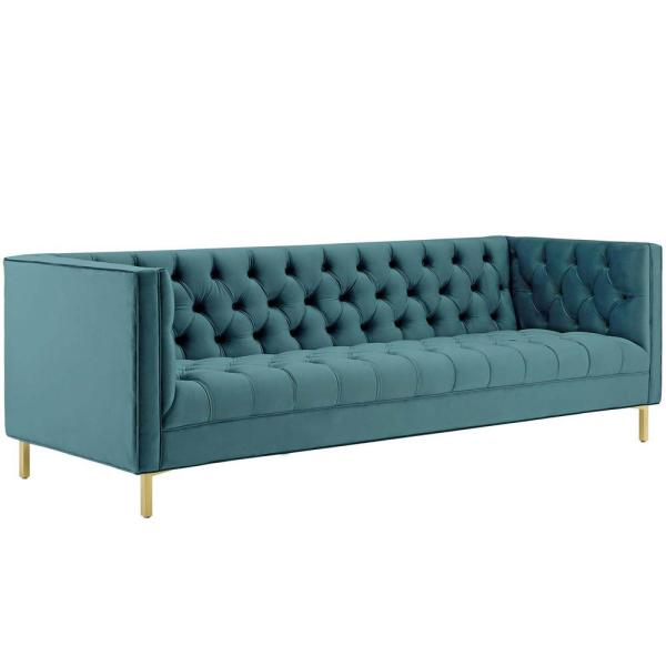 Delight 89.5 in. Sea Velvet 4-Seater Tuxedo Sofa with Square Arms