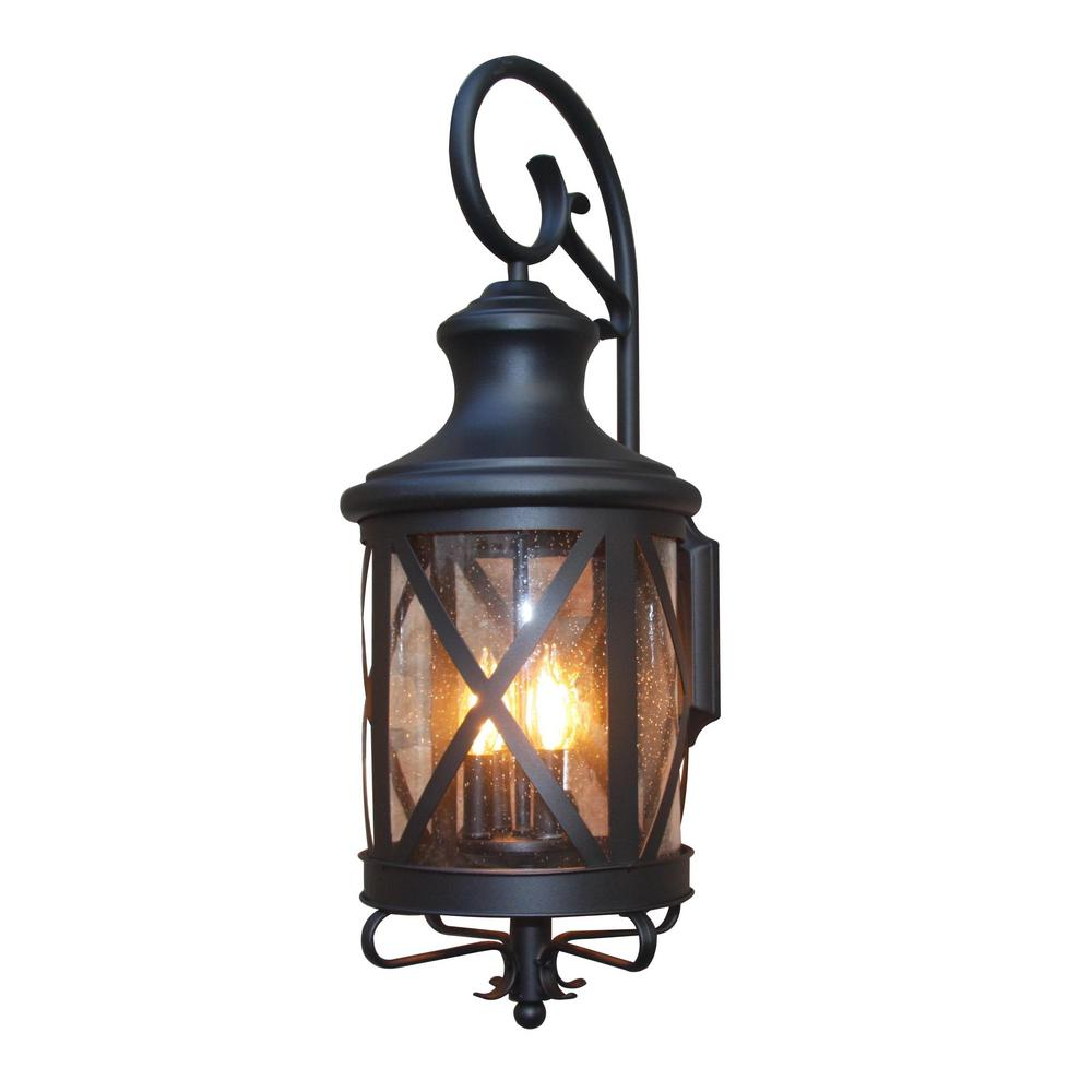 Y decor taysom 3 light black outdoor wall mount sconce el5364bl m the home depot for Black exterior sconce