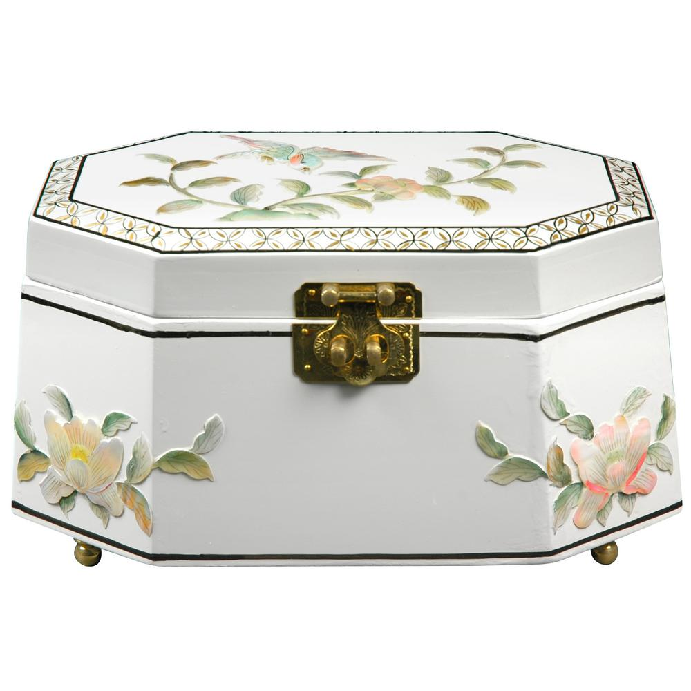 Oriental Furniture Antoinette Lacquer Jewelry Box in White
