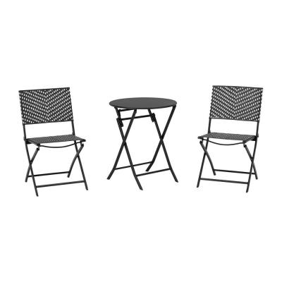 Mix and Match Black and White 3-Piece Steel Wicker Outdoor Bistro Folding Set