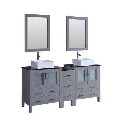 Bosconi 71.3 in. Double Vanity in Gray with Vanity Top in Black with White Basin and Mirror